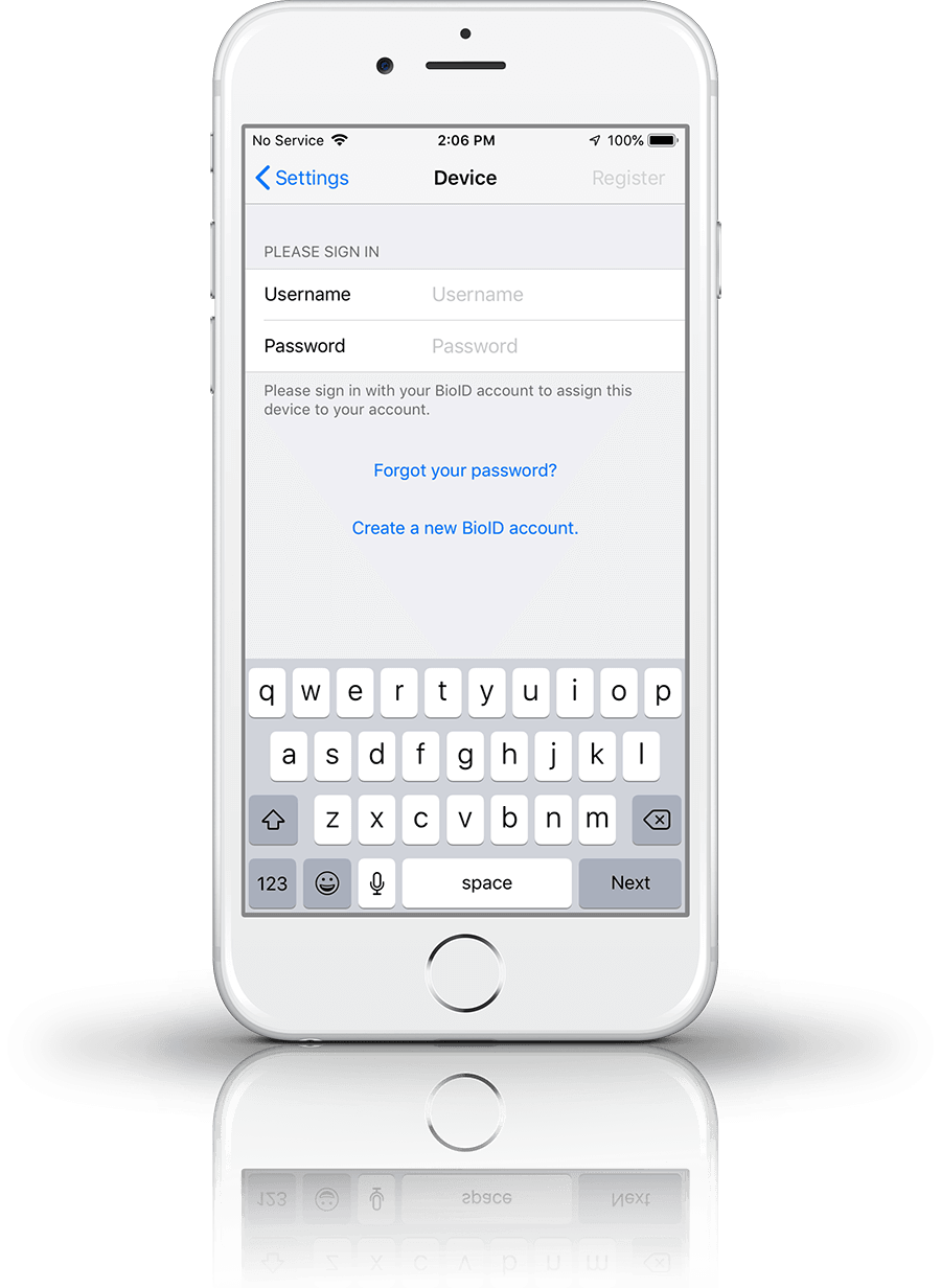 iOS app register device